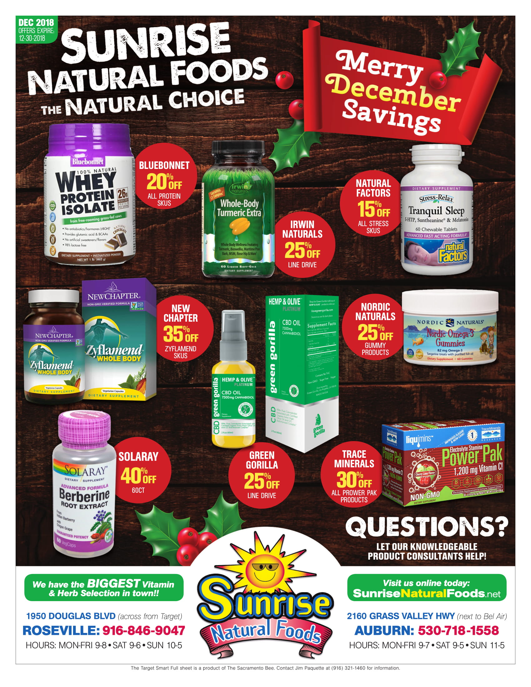 Sunrise Natural Foods December 2018 Ad Page 1